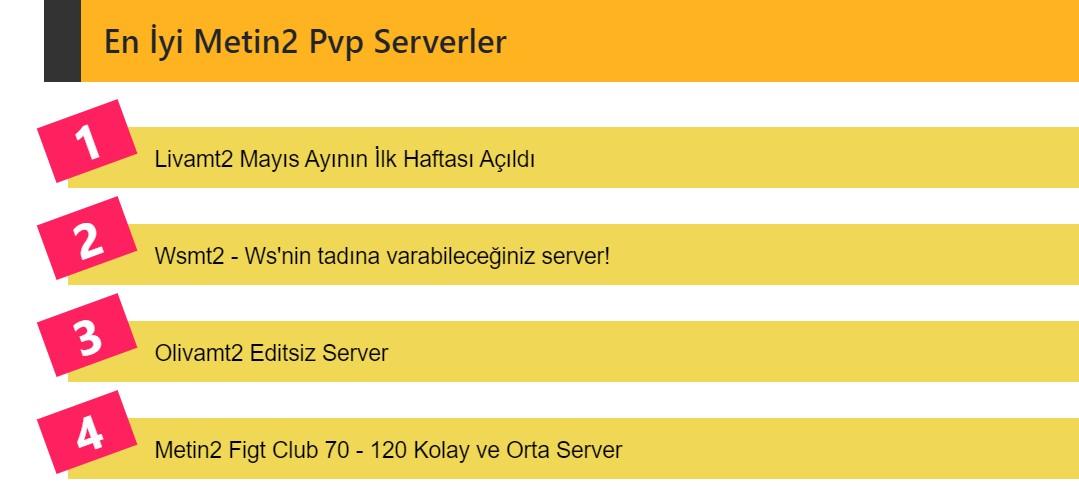 Metin2 1 - 120 Farmlık Pvp Serverler
