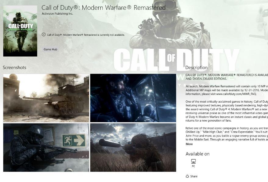 Call Of Duty Windows Store Mağazasına Geliyor!